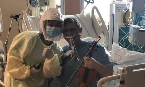 Κορονοϊός: Διασωληνωμένος ασθενής παίζει βιολί – Το «ευχαριστώ» του σε γιατρούς, νοσηλευτές!