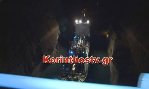 Κόρινθος: Kόλλησε πάλι πλοίο στον Ισθμό - Kατέρρευσε πλαγιά