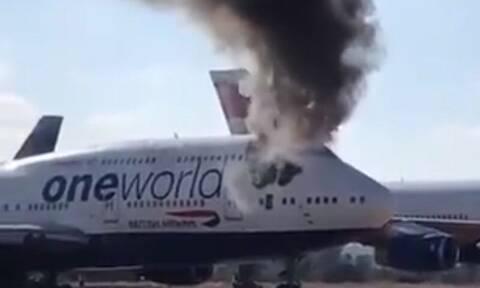Πανικός σε αεροδρόμιο: Πήρε φωτιά το πιλοτήριο αεροσκάφους (vid)