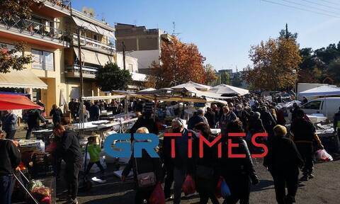 Θεσσαλονίκη - Lockdοwn: Μεγάλος συνωστισμός σε λαϊκή αγορά (pics-vid)