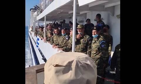 Καστελόριζο: Η συγκινητική αλλαγή φρουράς με τον Εθνικό Ύμνο (vid)
