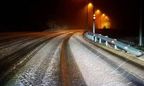 Κομοτηνή: Ισχυρή χιονόπτωση στον αυτοκινητόδρομο Νυμφαίας – Βουλγαρίας