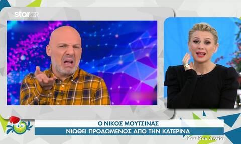 Νίκος Μουτσινάς: Η on air ενόχληση με τα σχόλια της Κατερίνας Καραβάτου