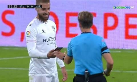 La Liga: Βρήκε κινητό στο γήπεδο την ώρα του αγώνα! (video)