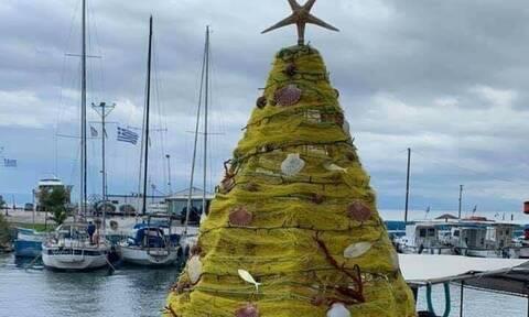 Εύβοια: Δείτε σε πoια περιοχή στόλισαν Χριστουγεννιάτικο Δέντρο με δίχτυα