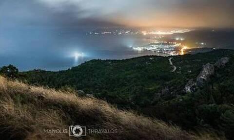 Απίστευτες εικόνες στη Σάμο με νυχτερινό ουράνιο τόξο (pics)