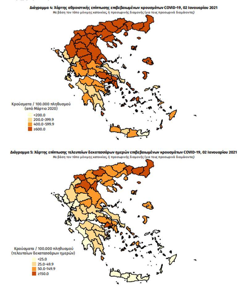 Τα κρούσματα σήμερα σε όλη την Ελλάδα …