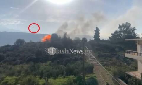 Πυρκαγιά στα Χανιά: Καρέ - καρέ η στιγμή της έκρηξης φιάλης υγραερίου - Συγκλονιστικό βίντεο