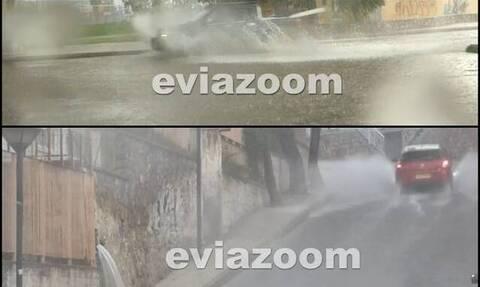 Σφοδρή νεροποντή στη Χαλκίδα – Ποτάμια οι δρόμοι (video)