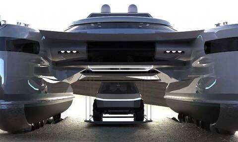 Αυτό το καταμαράν έχει γκαράζ για ένα Tesla Cybertruck και κινείται σαν κάβουρας