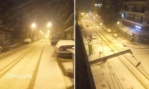Κακοκαιρία «Λέανδρος»: Χιονίζει στην κεντρική και βόρεια Χαλκιδική - Πού χρειάζονται αλυσίδες