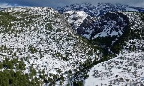 Η χιονισμένη Εύβοια από ψηλά - Μαγικές εικόνες από το όρος Δίρφυς (video)