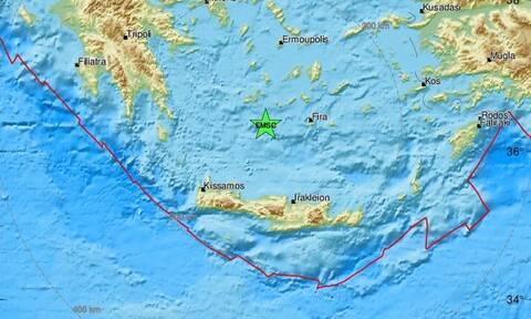 Σεισμός κοντά σε Μήλο και Σαντορίνη (pics)