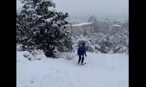 Ο Νορβηγός πρέσβης «νοστάλγησε» την πατρίδα του - Κατέβηκε με σκι τον λόφο της Φιλοθέης