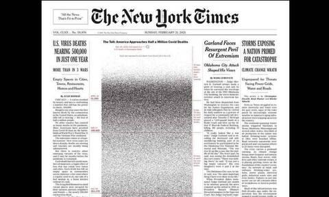 Κορoνοϊός: Συγκλονιστικό πρωτοσέλιδο των New York Times με μία κουκίδα για κάθε ζωή που χάθηκε