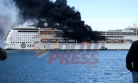Κέρκυρα: Υπό έλεγχο η φωτιά στο κρουαζιερόπλοιο - Συγκλονιστικές εικόνες από drone