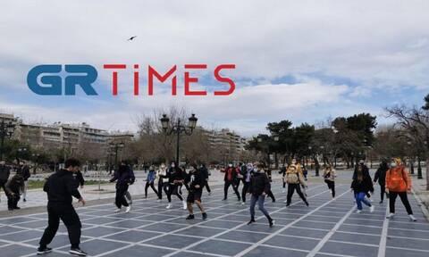 Θεσσαλονίκη: Διαμαρτυρία με γυμναστική για να ανοίξουν σχολές και χώροι άθλησης (pics - vid)