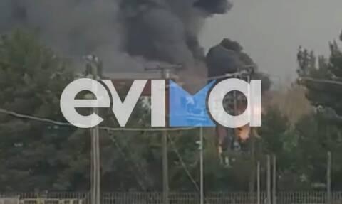 Φωτιά ΤΩΡΑ: Οι πρώτες εικόνες από τη μεγάλη πυρκαγιά σε εργοστάσιο στο Σχηματάρι