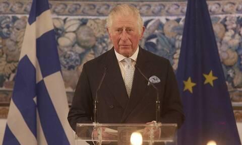 Greek president, Prince Charles at Evzones headquarters