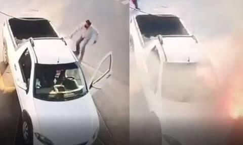 Έβαζε βενζίνη «χαζεύοντας» στο κινητό του και δεν είδε εγκαίρως την φωτιά (vid)