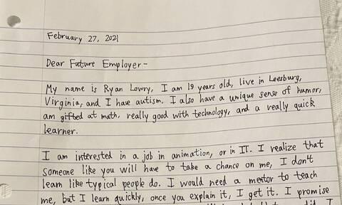 Το γράμμα νεαρού με αυτισμό κάνει το γύρο του διαδικτύου