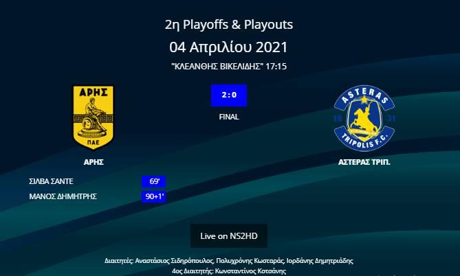 Άρης-Αστέρας Τρίπολης 2-0