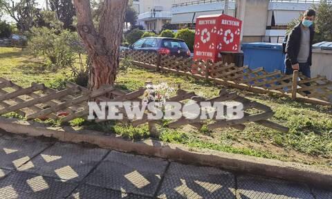 Γιώργος Καραϊβάζ: Λουλούδια στο σημείο της δολοφονίας – Συγκλονισμένοι οι γείτονες