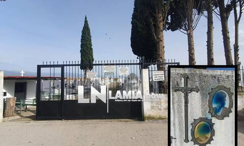 Λαμία: Ιερόσυλοι έβαψαν με σπρέι τις φωτογραφίες των νεκρών σε κοιμητήριο