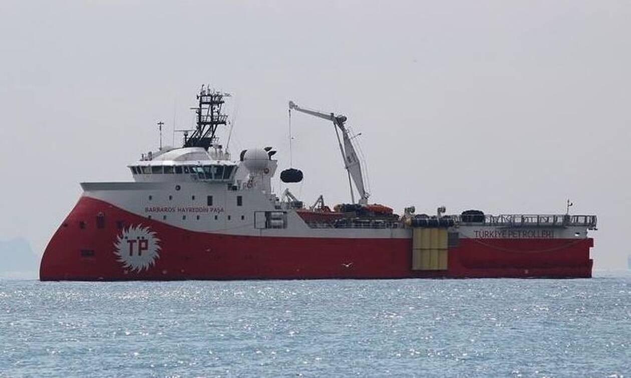 Το τουρκικό ερευνητικό σκάφος Barbaros ανοιχτά της Μυτιλήνης