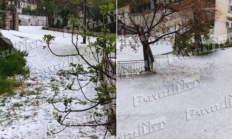 Πρέβεζα: Ντύθηκε στα λευκά η Κρυοπηγή - Απίστευτη χαλαζόπτωση (pics+vid)