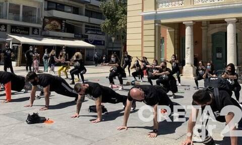 Διαμαρτυρία με push up στο Ηράκλειο