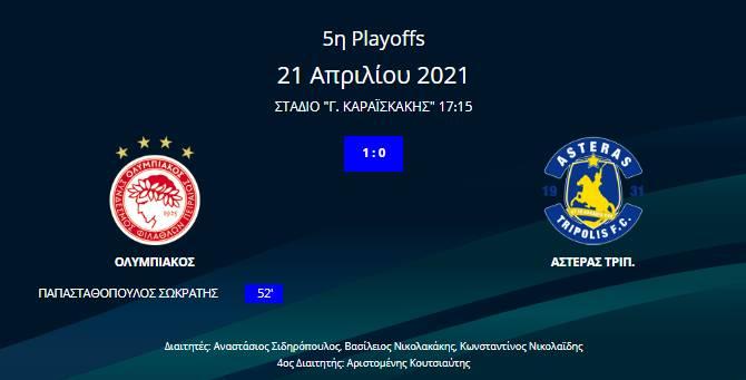 Ολυμπιακός - Αστέρας Τρίπολης 1-0