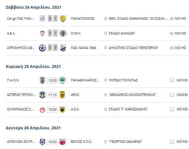 Το πρόγραμμα της Super League