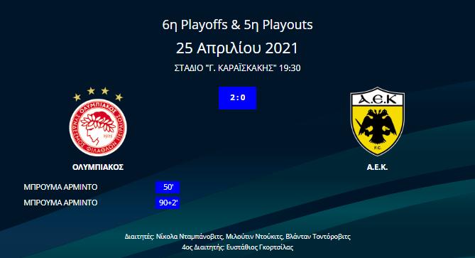 Ολυμπιακός - ΑΕΚ 2-0