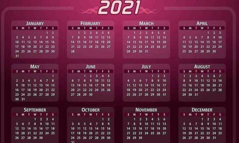 Ημερολόγιο - Αργίες 2021