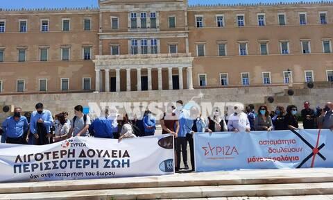 Ρεπορτάζ Newsbomb.gr: Διαμαρτυρία του ΣΥΡΙΖΑ έξω από τη Βουλή για τα εργασιακά
