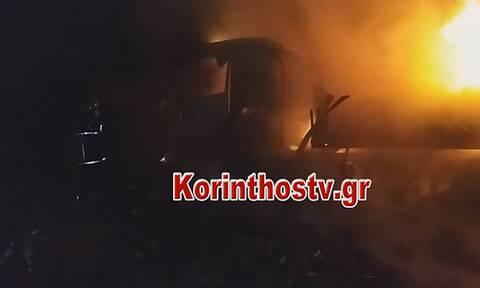 Φωτιά σε νταλίκα στην παλαιά εθνική οδό Αθηνών – Κορίνθου – Έκλεισε ο δρόμος