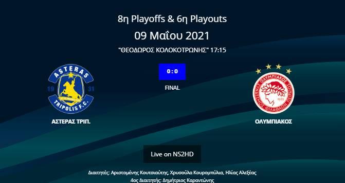 Αστέρας Τρίπολης - Ολυμπιακός 0-0