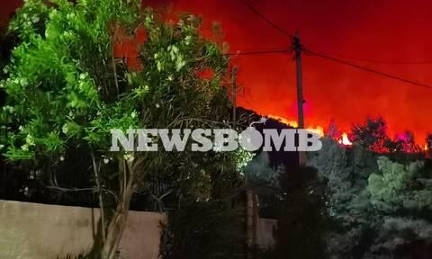 Φωτιά στα  Γεράνεια Όρη - Κάτοικοι στο Newsbomb.gr: Έχουν καεί σπίτια στη Μαυρολίμνη