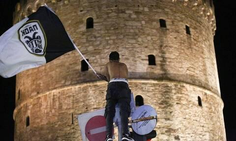 Τελικός Κυπέλλου: «Καίγεται» ο Λευκός Πύργος! - LIVE οι πανηγυρισμοί των φίλων του ΠΑΟΚ (vid+pics)