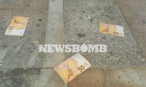 Πορεία του ΠΑΜΕ στο υπουργείο Εργασίας – Πέταξαν «χαρτονομίσματα» των 50… ρεπό