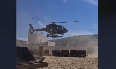 Μύκονος: Ελικόπτερο επιχειρηματία προσγειώθηκε σε παραλία (vid)