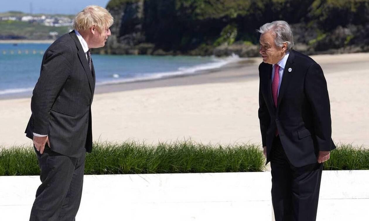 Για το Κυπριακό συζήτησαν Γκουτέρες - Τζόνσον στο περιθώριο της G7