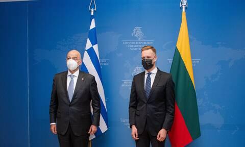 FM Dendias meets Lithuanian parliament speaker Čmilytė-Nielsen