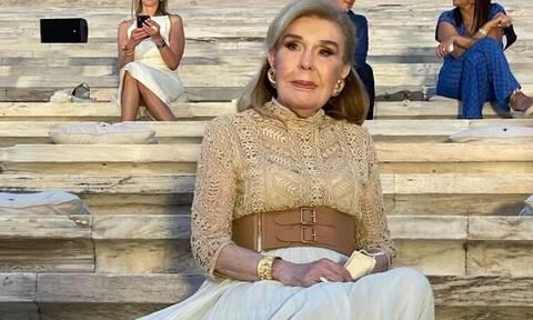 Η Μαριάννα Βαρδινογιάννη στην επίδειξη μόδας του οίκου Dior στο Καλλιμάρμαρο