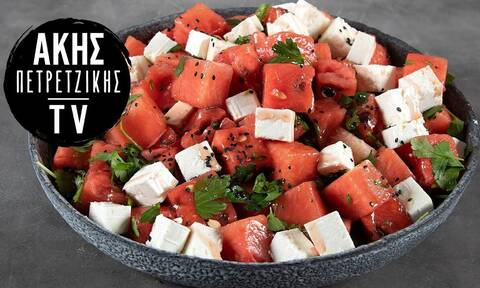Δροσερή σαλάτα με καρπούζι και φέτα από τον Άκη Πετρετζίκη
