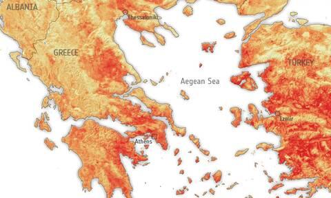 EOΔ: Πάνω από 50 βαθμούς η θερμοκρασία στην επιφάνεια σε πολλά μέρη της Ελλάδας στις 30 Ιουνίου