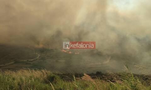 Πυρκαγιά στην Κεφαλονιά: Μήνυμα του 112 - «Παραμείνετε σε ετοιμότητα»