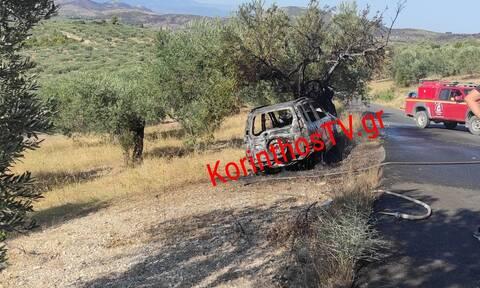 Τραγωδία στην Κόρινθο: Απανθρακώθηκε οδηγός αυτοκινήτου(φωτο)