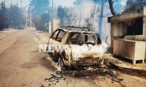 Φωτιά στη Σταμάτα: Στις φλόγες περιουσίες  σε Ροδόπολη και Διόνυσο –Μεγάλη μάχη με τις αναζωπυρώσεις